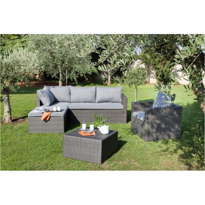 salon bas de jardin modena r sine tress e anthracite canap fauteuil pouf leroy merlin. Black Bedroom Furniture Sets. Home Design Ideas
