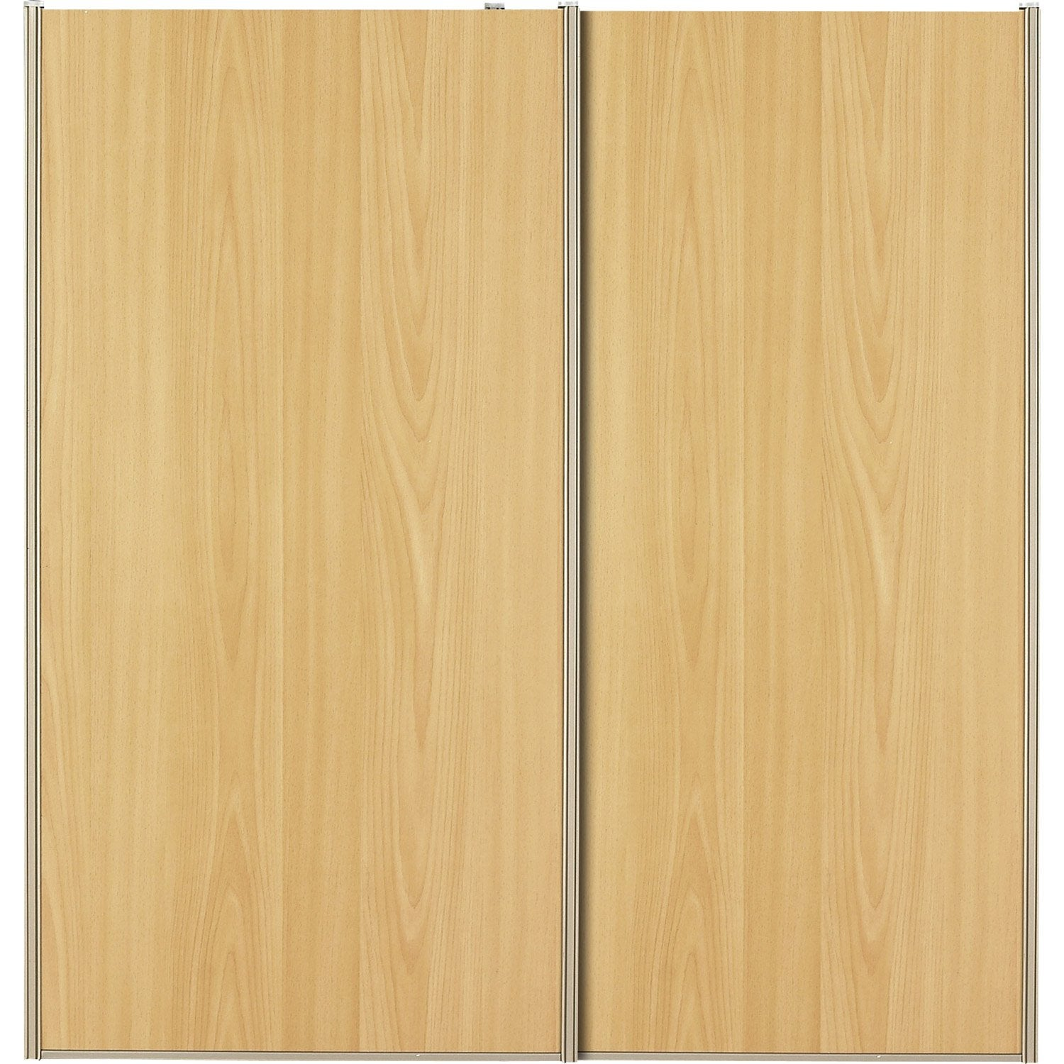 Lot de 2 portes de placard coulissantes naturel 120x120cm leroy merlin for Porte placard bois