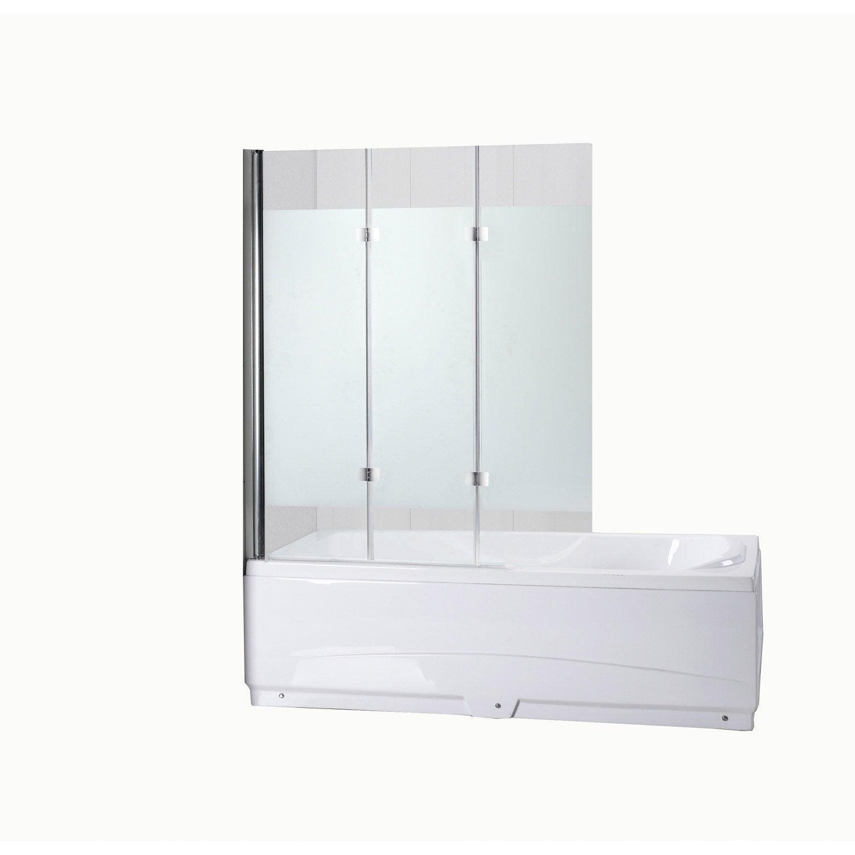 pare baignoire 3 volets quadro verre s curit 5 mm s rigraphi leroy merlin. Black Bedroom Furniture Sets. Home Design Ideas