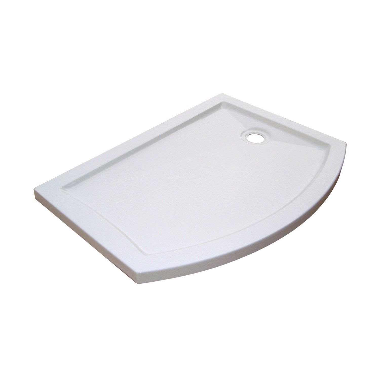 Receveur de douche asym trique 125 x 90 cm acrylique blanc look version droi - Receveur de douche leroy merlin ...