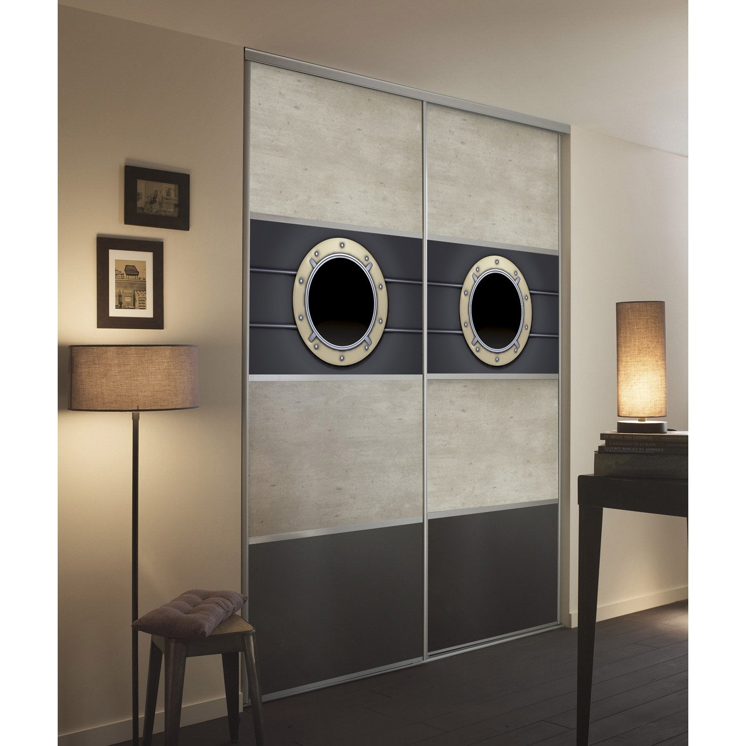 kit 2 stick 39 it pour porte de placard coulissante cm hublot leroy merlin. Black Bedroom Furniture Sets. Home Design Ideas