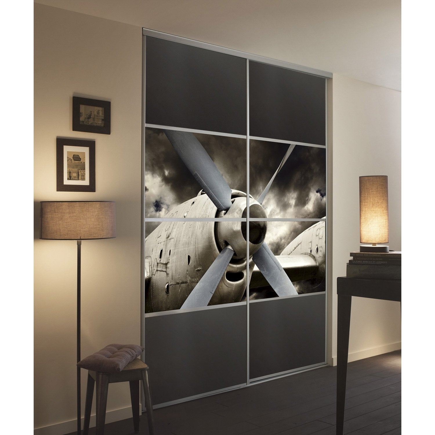 kit 4 stick 39 it pour porte de placard coulissante cm avion leroy merlin. Black Bedroom Furniture Sets. Home Design Ideas