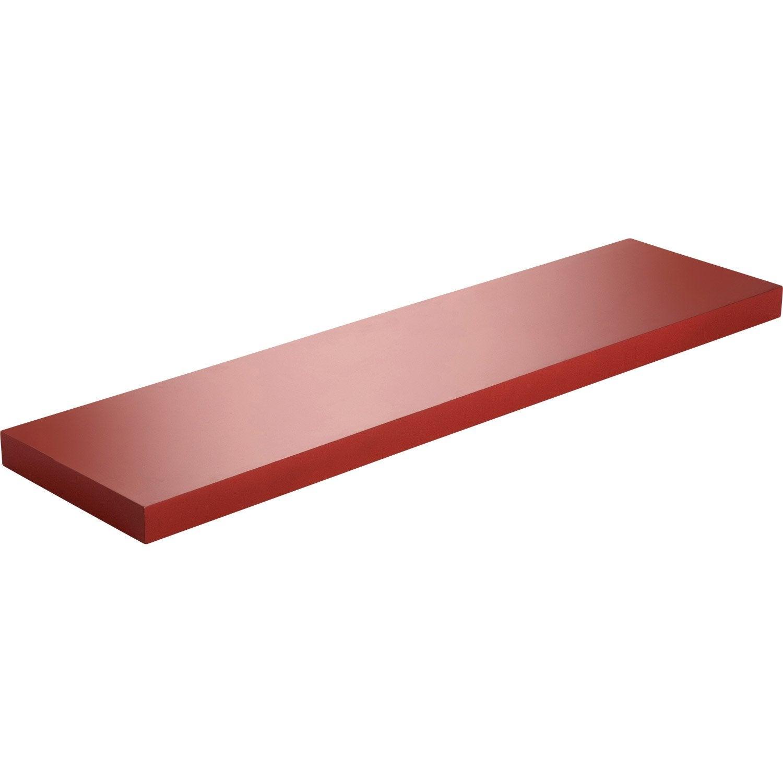 Etagère murale rouge rouge n°3 spaceo, l 60 x p 23.5 cm ep.38 mm ...