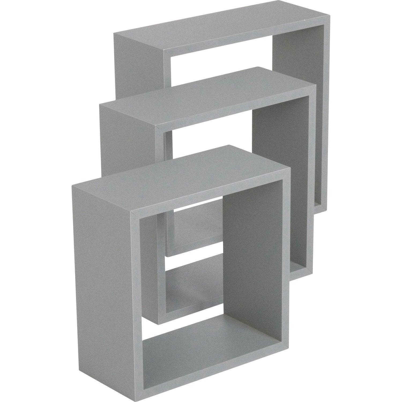 etag re 3 cubes gris l 30 x p 30 l 27 x p 27 l 24 x p 24 cm mm leroy merlin. Black Bedroom Furniture Sets. Home Design Ideas