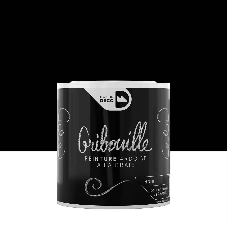 Peinture tableau craie noir maison deco gribouille 0 5 l for Peinture acrylique leroy merlin