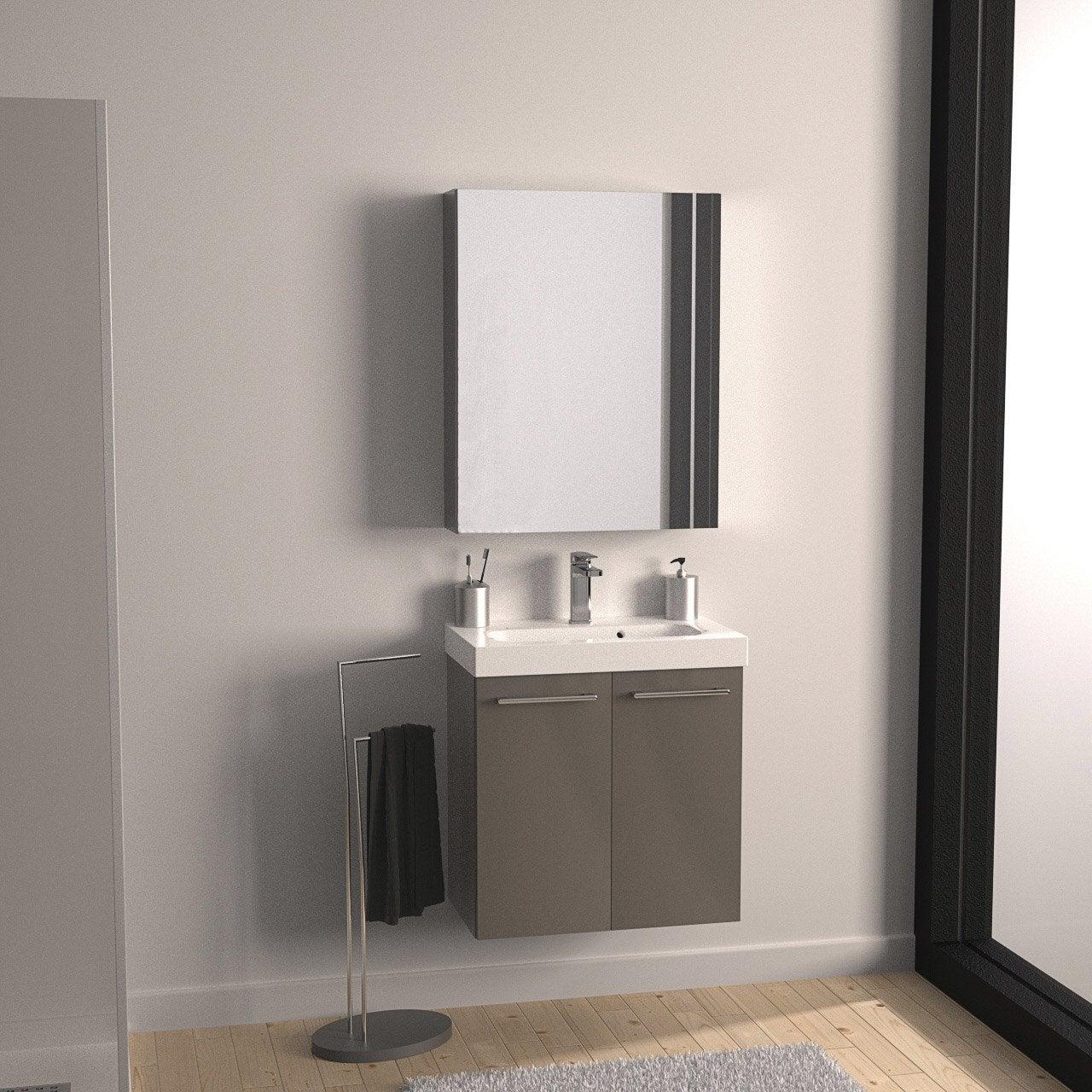 Meuble de salle de bains de 60 79 marron remix leroy - Revetement mural douche ...