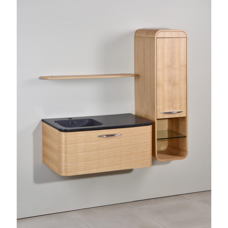 Meuble de salle de bains de 80 99 brun marron - Meuble salle de bain leroy ...