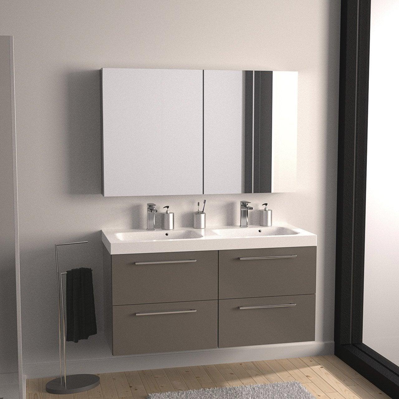 Meuble de salle de bains plus de 120 brun marron remix - Meuble colonne salle de bain leroy merlin ...