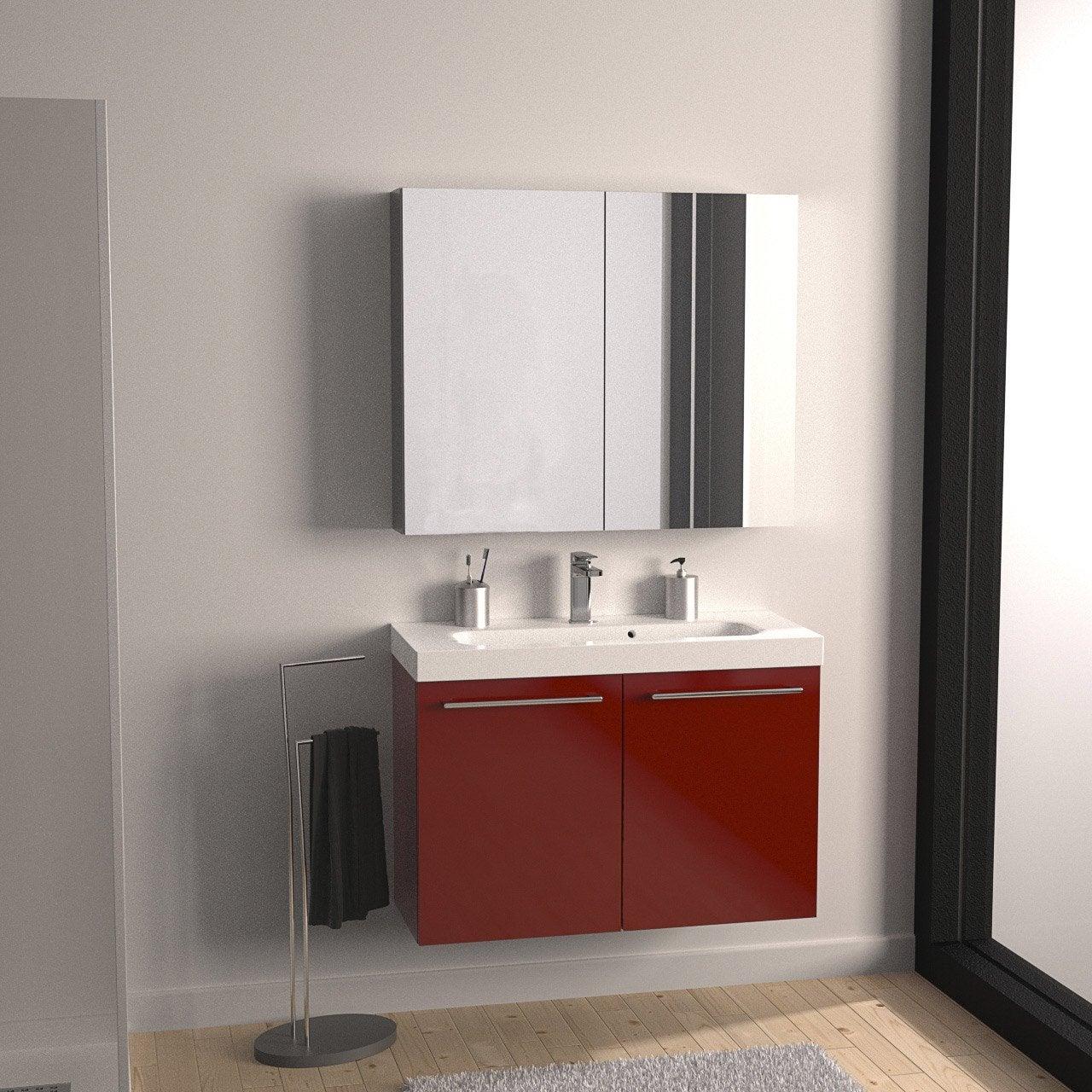 Meuble de salle de bains de 80 99 rouge remix leroy - Meuble remix leroy merlin ...