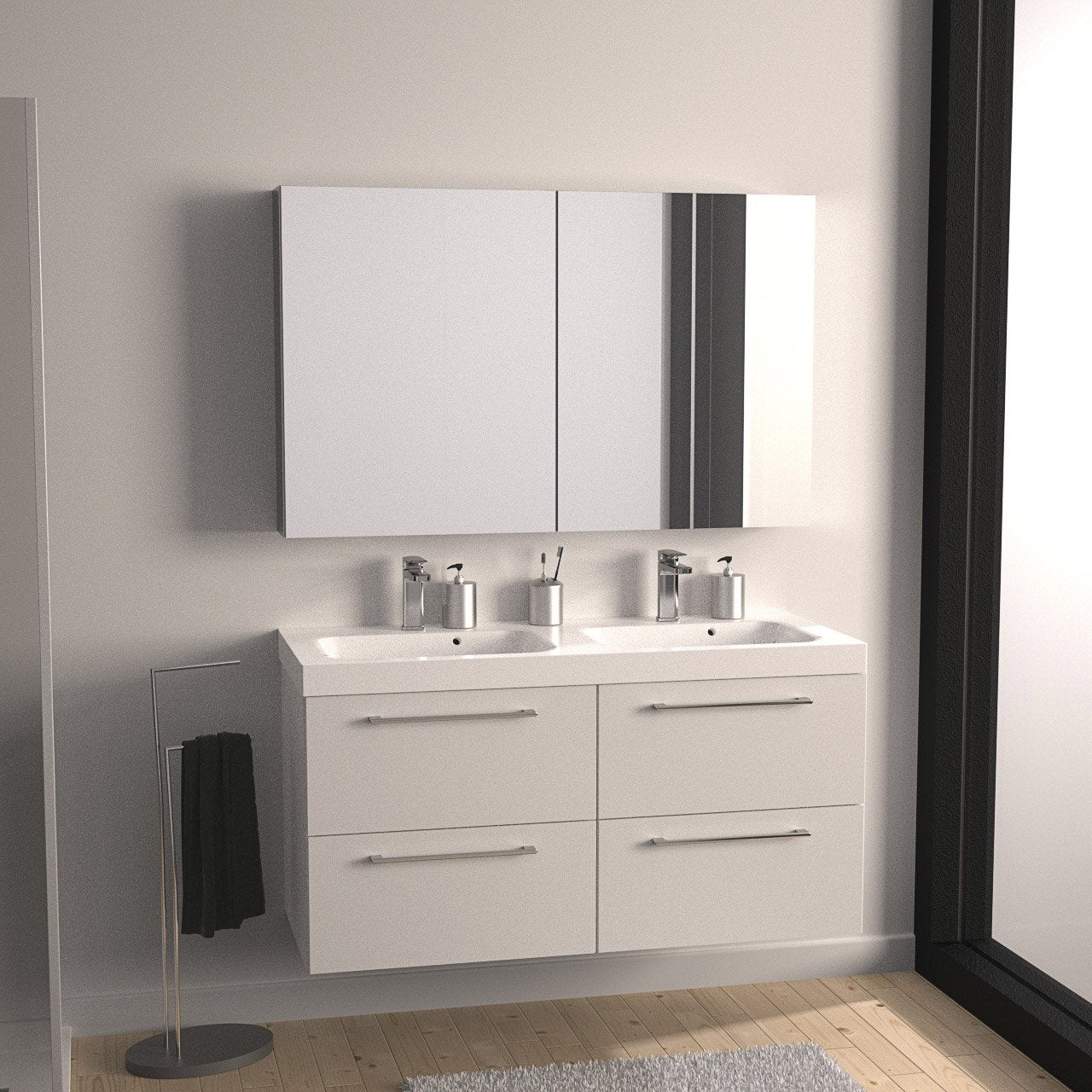 meuble de salle de bains plus de 120 blanc beige. Black Bedroom Furniture Sets. Home Design Ideas