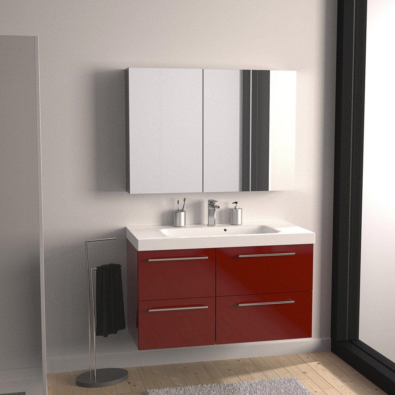 Meuble de salle de bains de 100 119 rouge remix for Meuble salle de bain teck leroy merlin