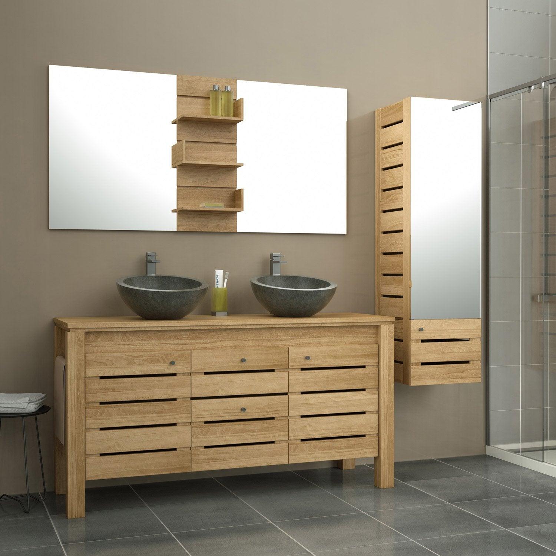 Meuble de salle de bains plus de 120 brun marron for Meuble tv leroy merlin