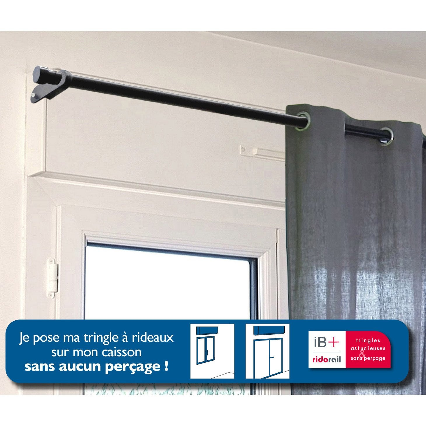 Support sans per age tringle rideau ib 25 mm noir mat for Entrebailleur de fenetre sans percage