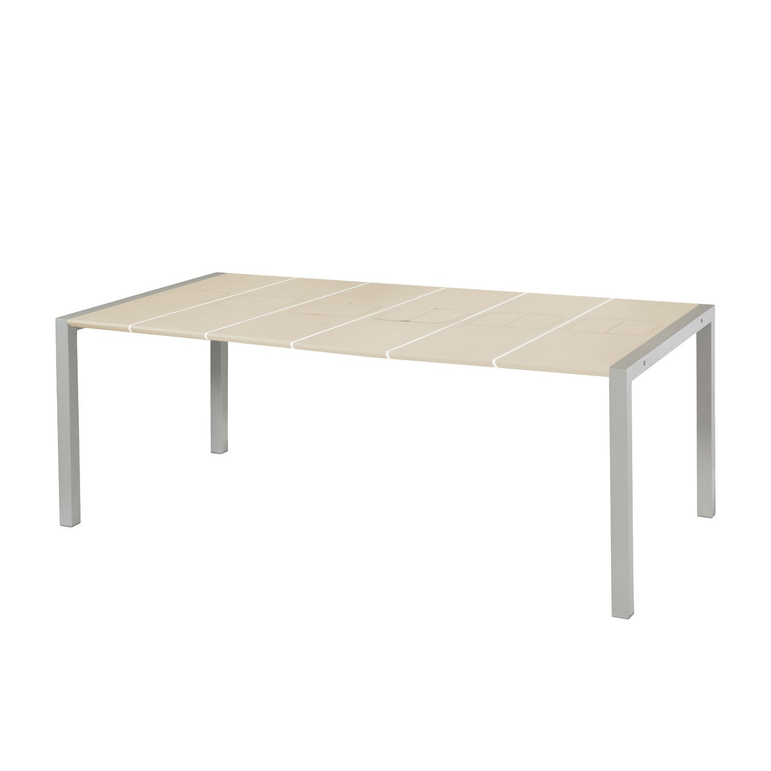 table de jardin grosfillex sunday rectangulaire lin 8 personnes leroy merlin. Black Bedroom Furniture Sets. Home Design Ideas