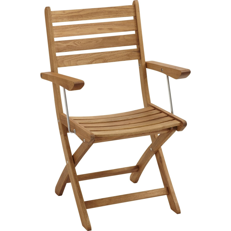 Lot de 2 fauteuils de jardin en bois robin naturel leroy for Fauteuil jardin leroy merlin