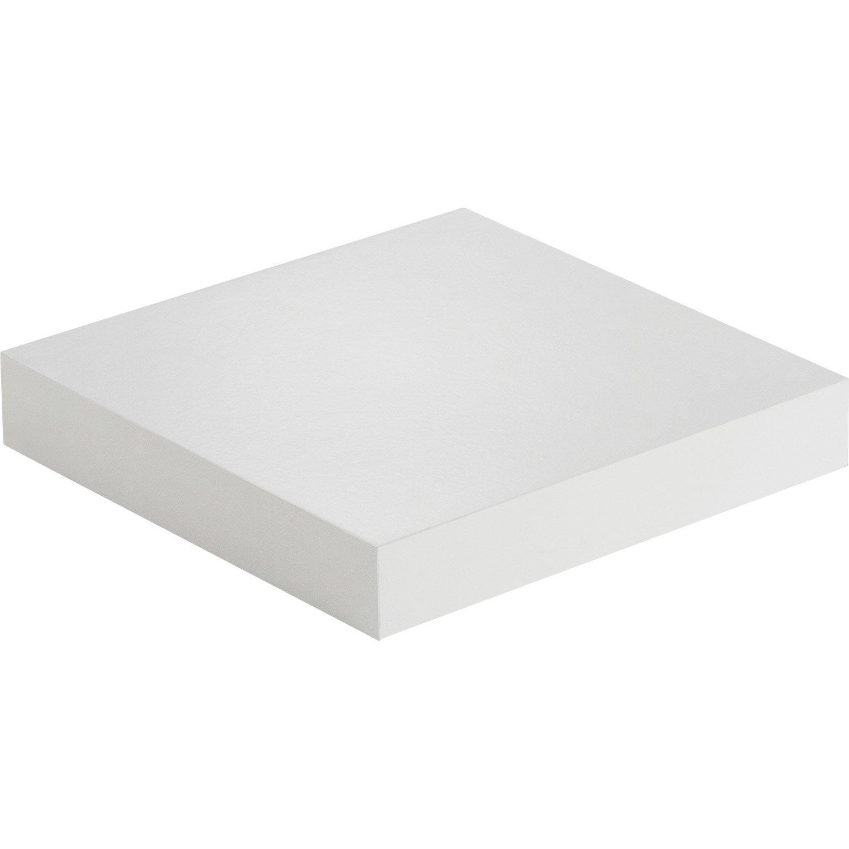 Etag re murale blanc white spaceo l 23 5 x p 23 5 cm p - Etagere murale avec tiroir leroy merlin ...