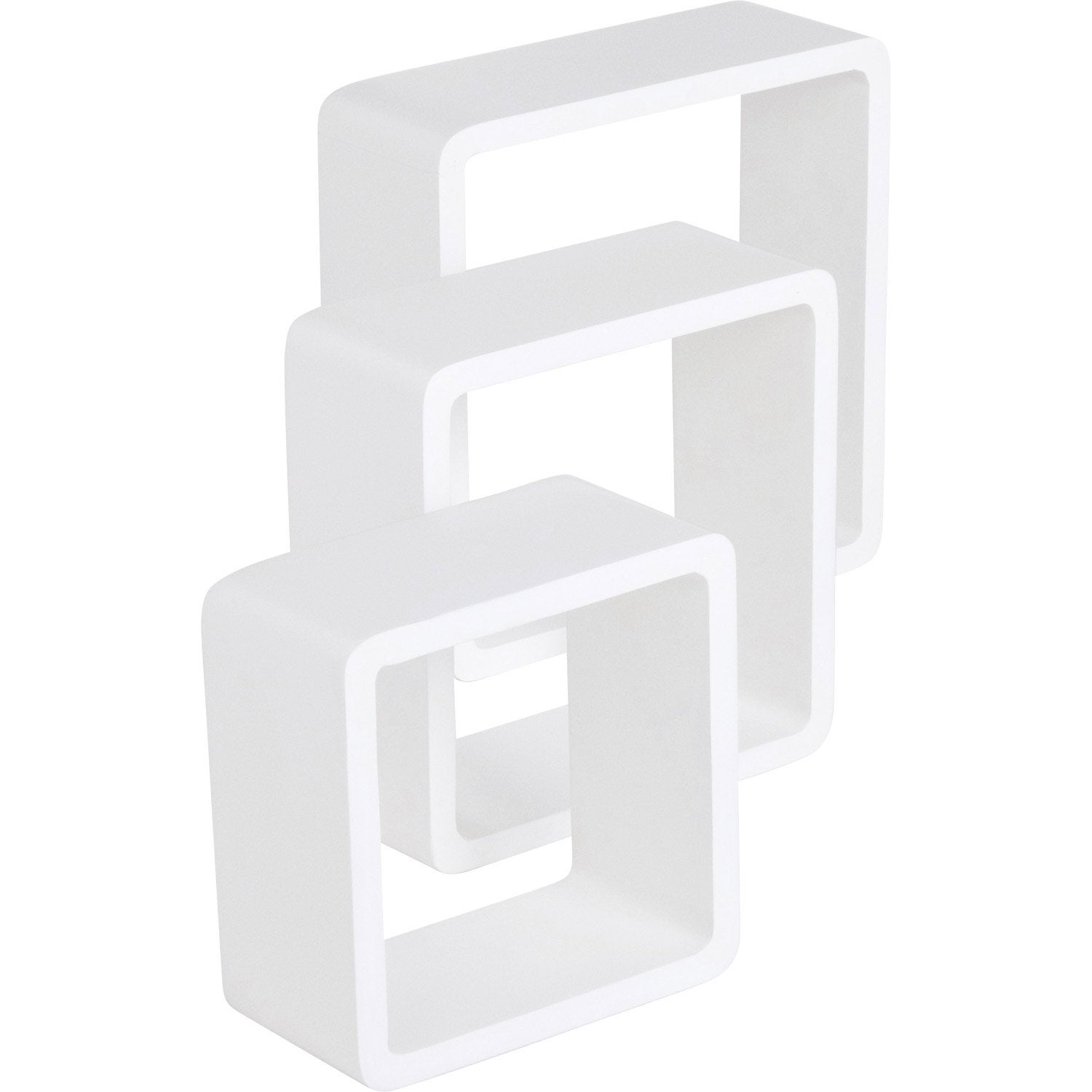 3 tag res cubes blanc super brillant spaceo l28xp28cm l24xp24cm l21xp21cm - Cube rangement leroy merlin ...