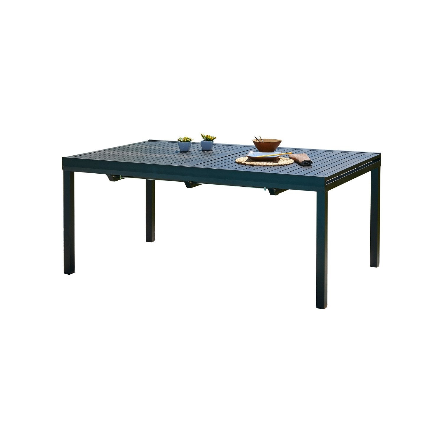 table de jardin miami rectangulaire noir 10 personnes leroy merlin. Black Bedroom Furniture Sets. Home Design Ideas