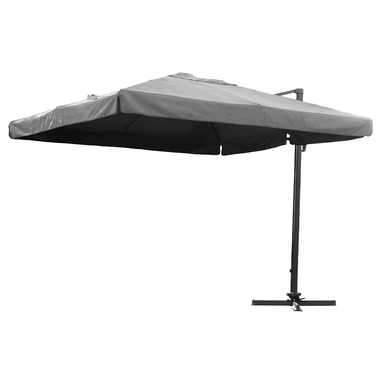 Parasol excentr almeria gris carr x cm for Parasol deporte rectangulaire leroy merlin