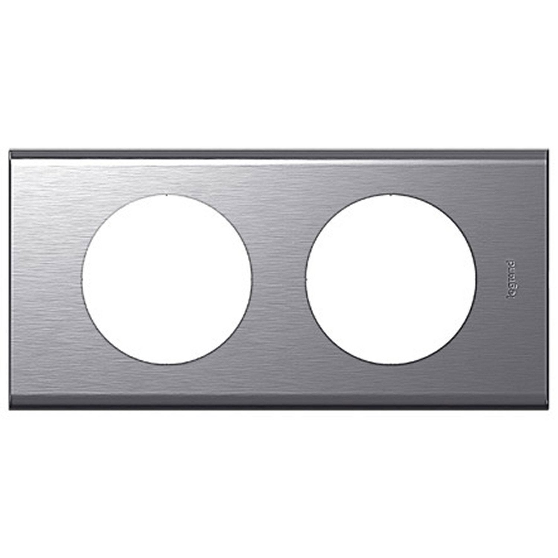 plaque double c liane legrand inox bross leroy merlin. Black Bedroom Furniture Sets. Home Design Ideas