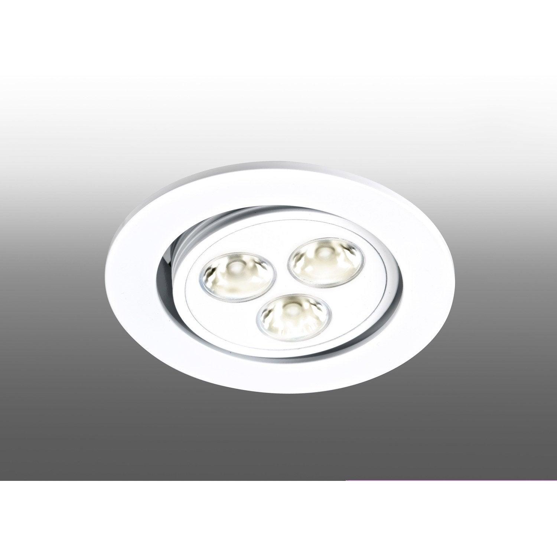 kit 1 spot encastrer bijou orientable led led int gr e blanc leroy merlin. Black Bedroom Furniture Sets. Home Design Ideas
