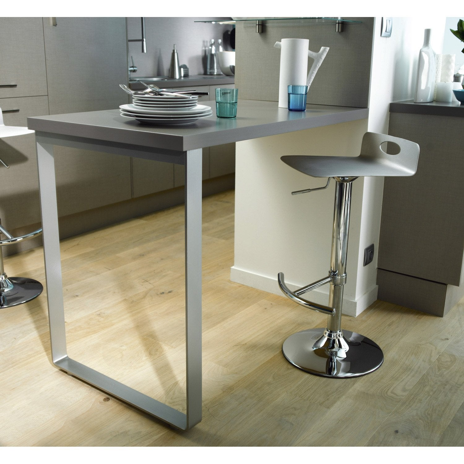 Pied gris x cm leroy merlin for Table de cuisine pliante leroy merlin