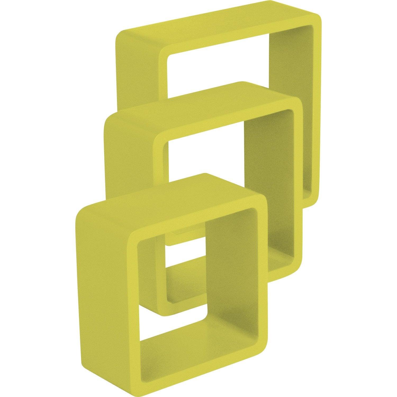 Etag re 3 cubes jaune anis l 28 x p 28 l 24 x p 24 l 21 x p 21 cm m - Etagere murale jaune ...