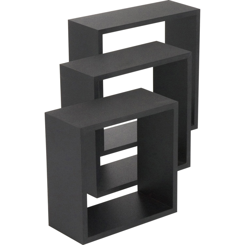Etag re 3 cubes noir l 30 x p 30 l 27 x p 27 l 24 x p 24 cm mm le - Cube etagere leroy merlin ...