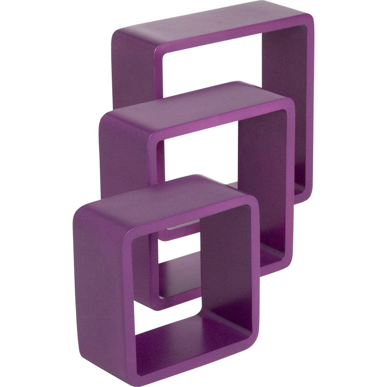 Etag re 3 cubes violet tulipe l 28 x p 28 l 24 x p 24 l 21 x p 21 cm - Etagere cube leroy merlin ...