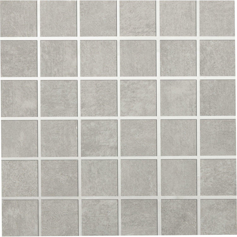 Mosa que sol et mur tresor gris 5 x 5 cm leroy merlin for Carrelage tomette grise