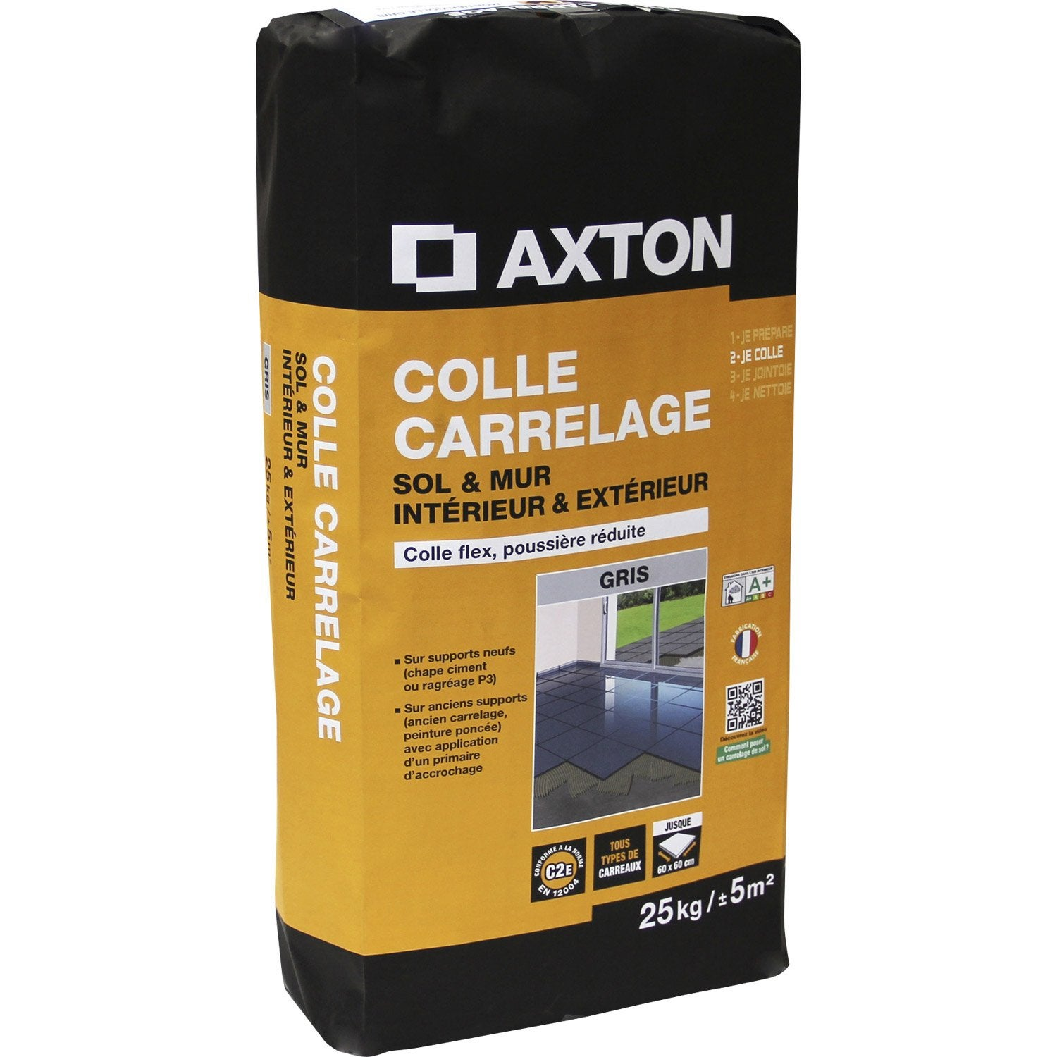 Mortier colle flexible pour carrelage mur et sol 25 kg for Colle ciment exterieur