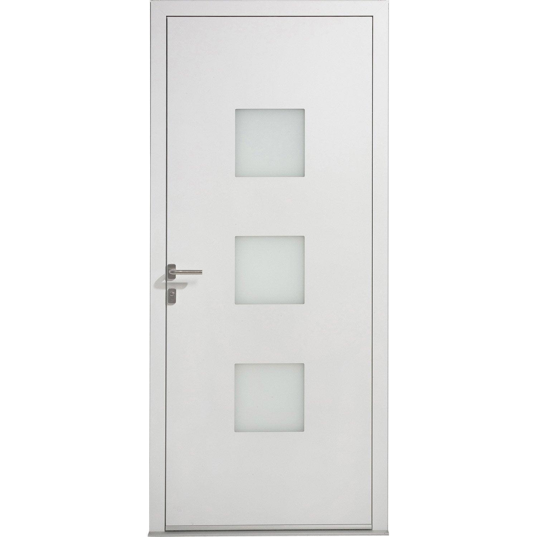 Porte d 39 entr e aluminium phenix excellence poussant droit x c - Porte isophonique lapeyre ...