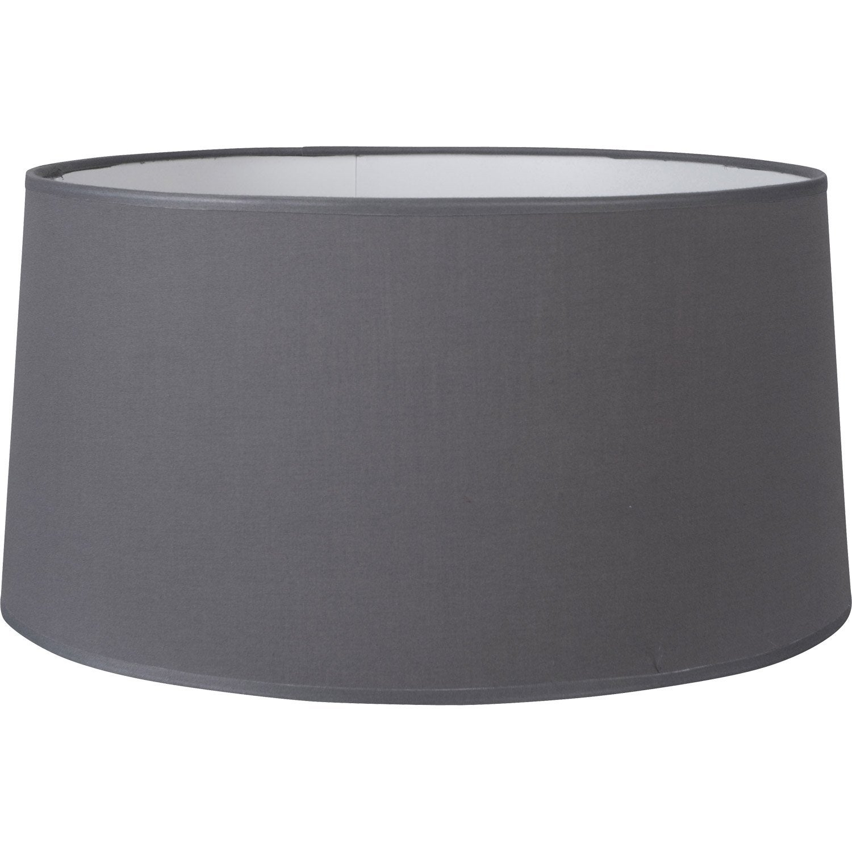 abat jour drum 38 cm coton ardoise inspire leroy merlin. Black Bedroom Furniture Sets. Home Design Ideas