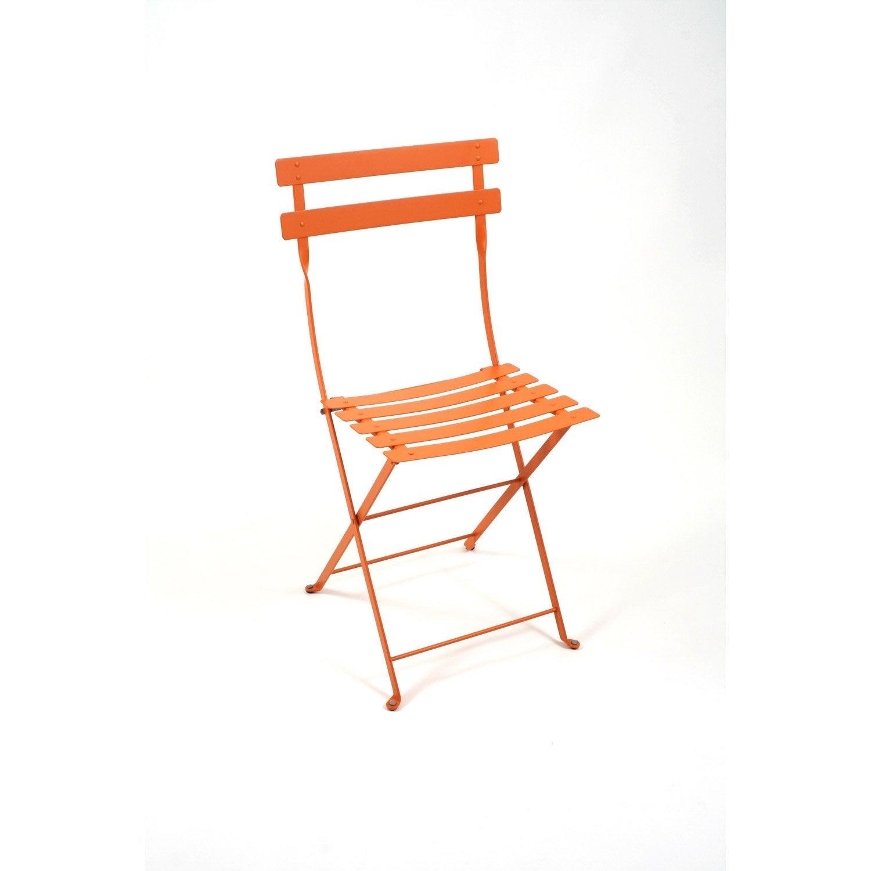 chaise de jardin en acier bistro couleur carotte fermob leroy merlin. Black Bedroom Furniture Sets. Home Design Ideas