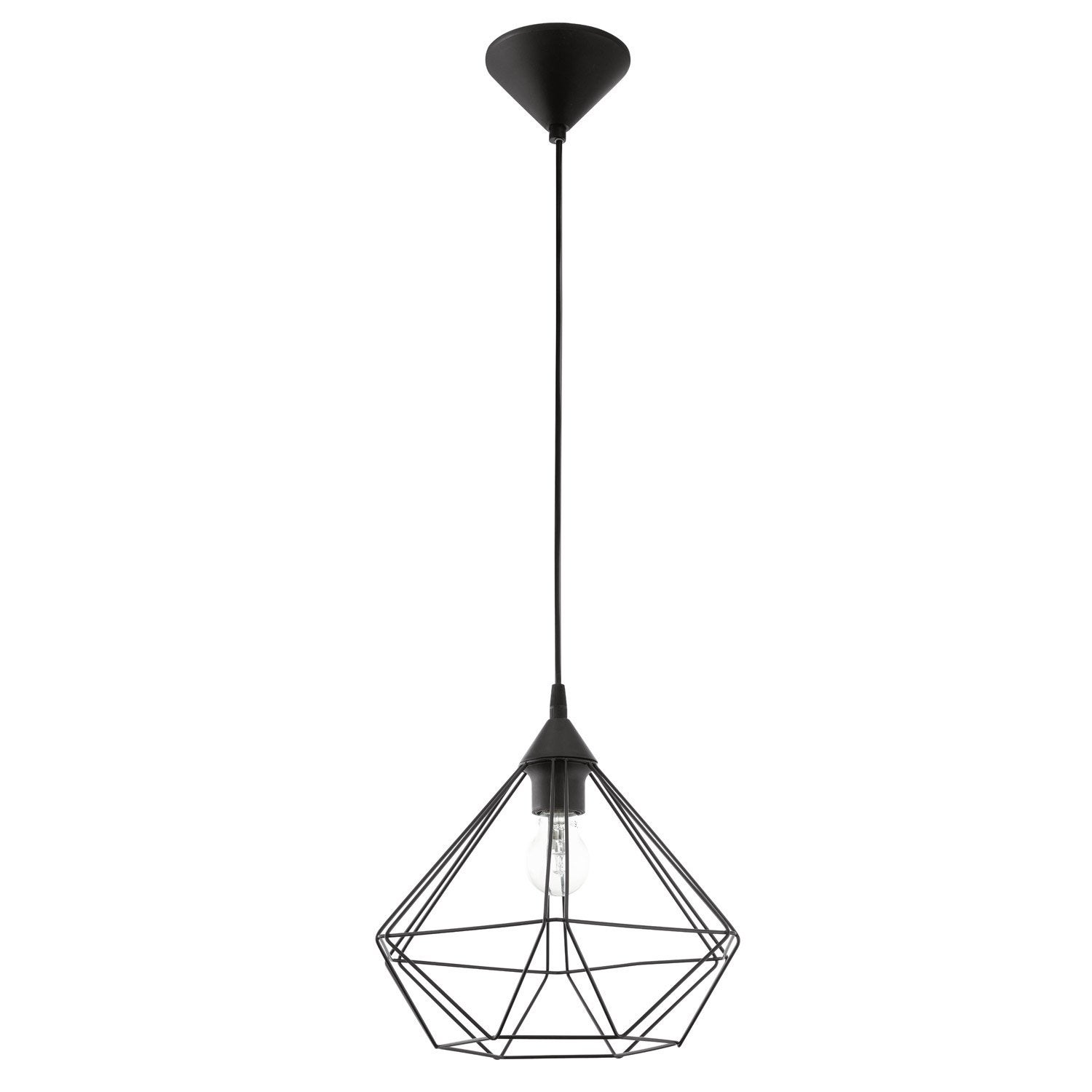 Suspension industriel tarbes m tal noir 1 x 60 w eglo for Luminaire exterieur design leroy merlin