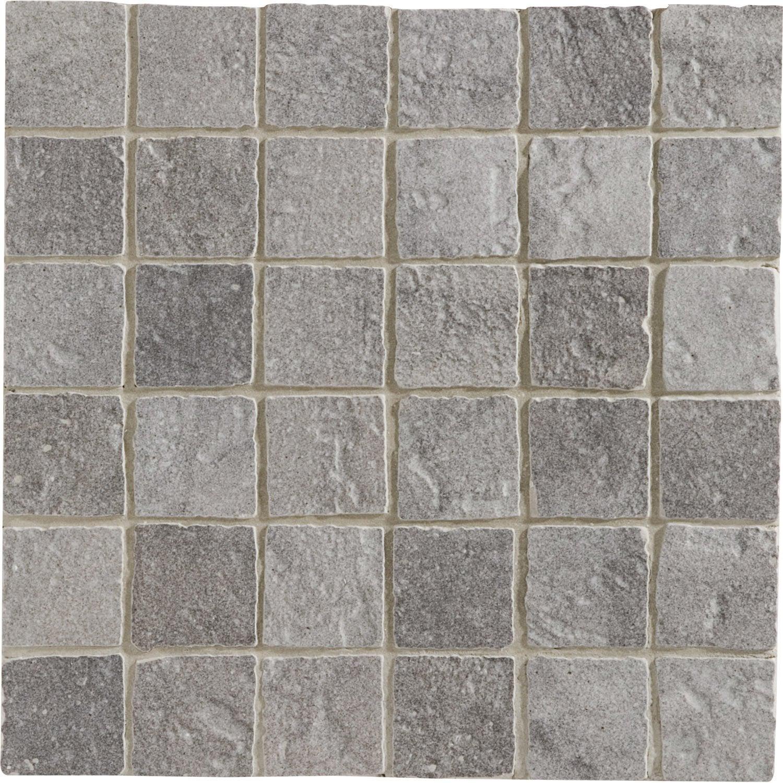 Mosa que sol et mur vestige gris leroy merlin for Carrelage salle de bain beige texture