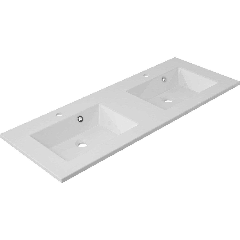 Plan vasque double modern marbre de synth se 121 cm for Double vasque 140 cm leroy merlin