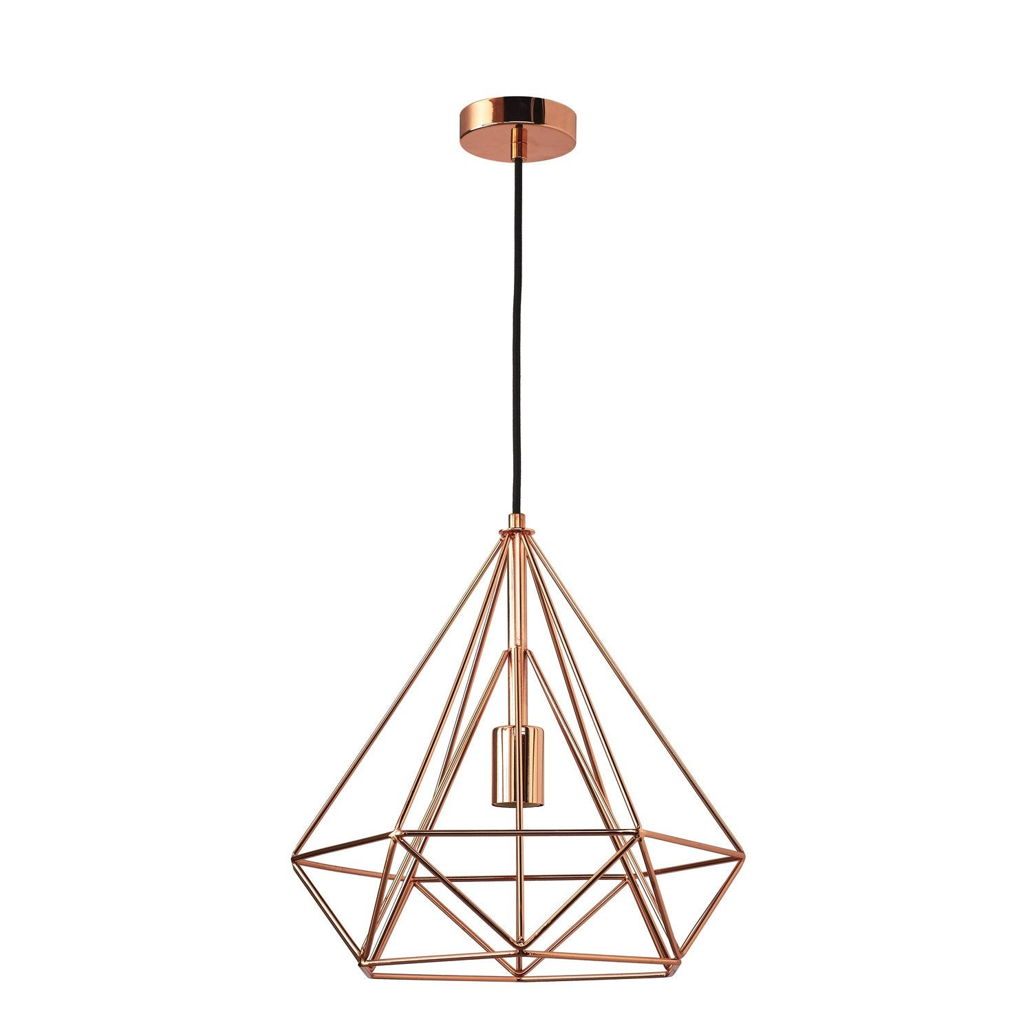 Suspension e27 design byron m tal cuivre 1 x 60 w inspire for Suspension luminaire filaire