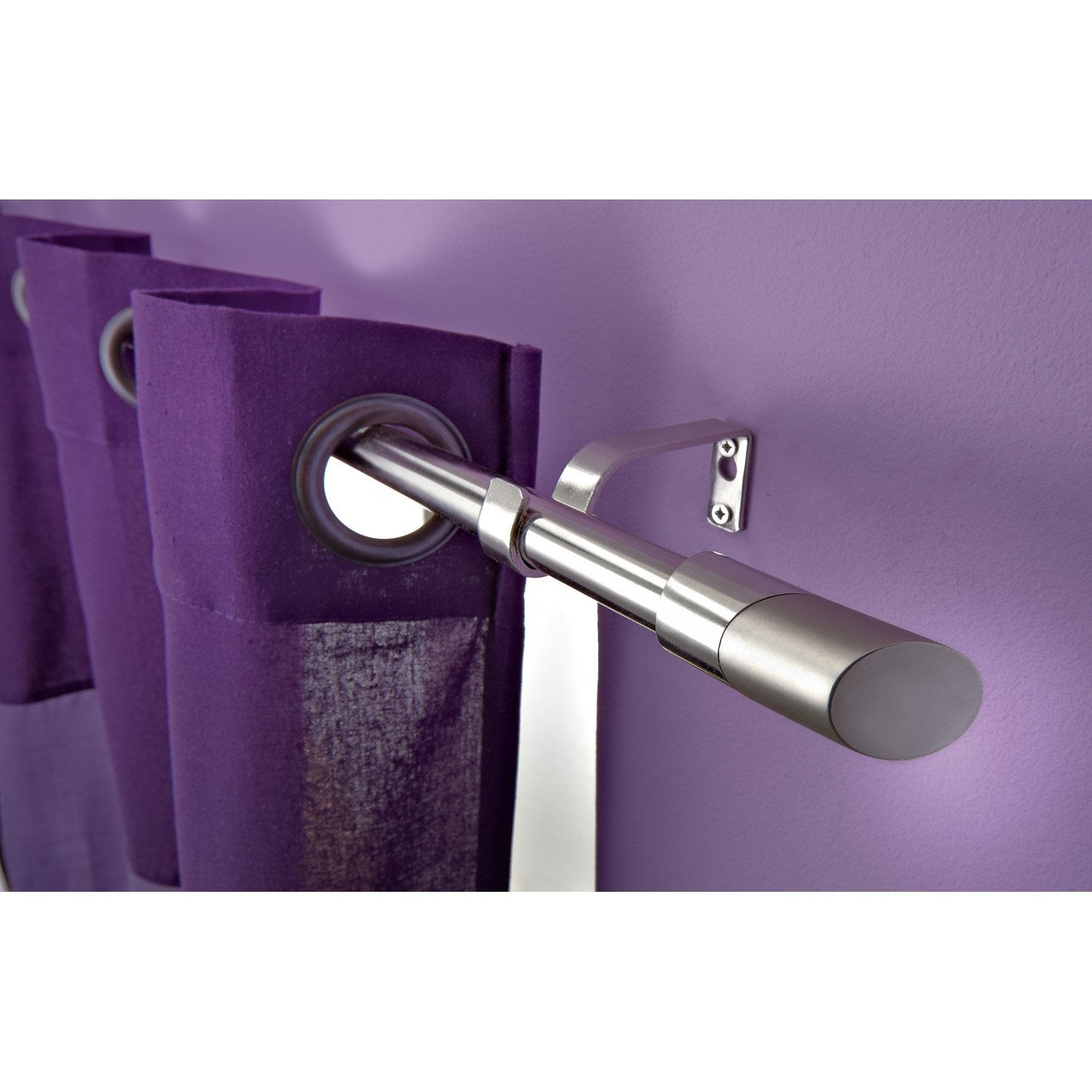 Kit de tringle rideau twin diam 16 19 mm gris satin - Tringle de porte leroy merlin ...