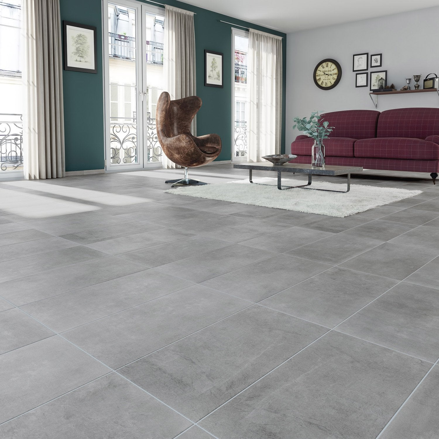 Carrelage sol et mur gris effet b ton new cottage x l for Carrelage 60x60 gris anthracite