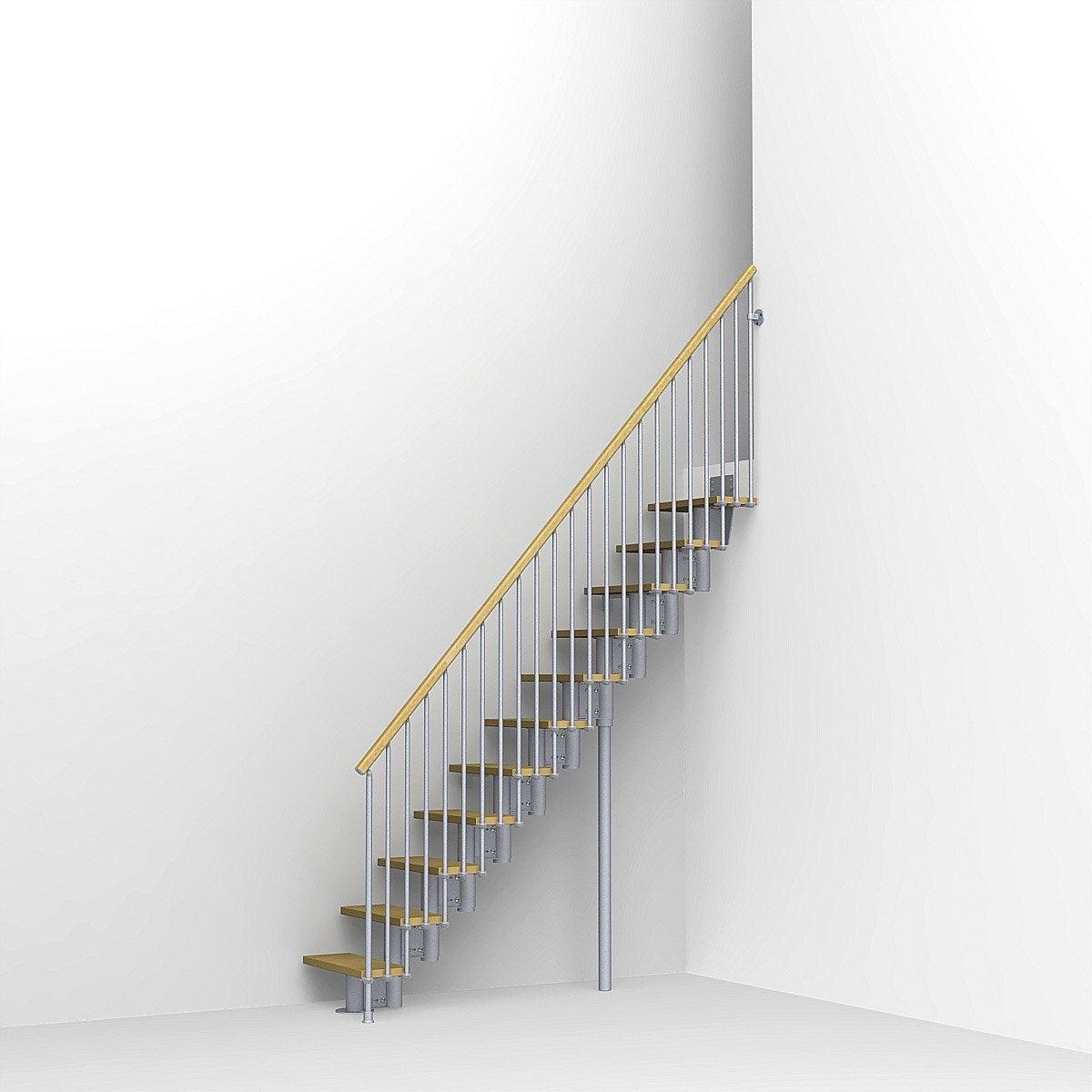 escalier modulaire strong marches bois structure m tal gris leroy merlin. Black Bedroom Furniture Sets. Home Design Ideas