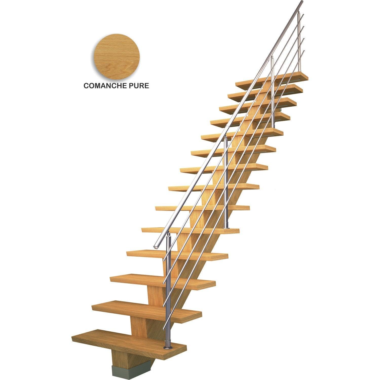 Escalier droit marches structure mdf m dium ch ne for Escalier droit leroy merlin