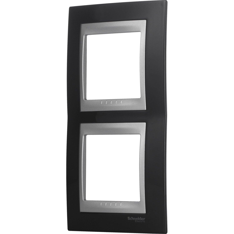 plaque double unicatop schneider electric noir et. Black Bedroom Furniture Sets. Home Design Ideas