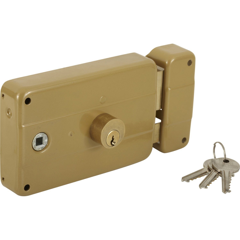 Serrure en applique thirard axe 60 mm poign e ouverture droite leroy merlin - Poignee serrure porte de garage ...
