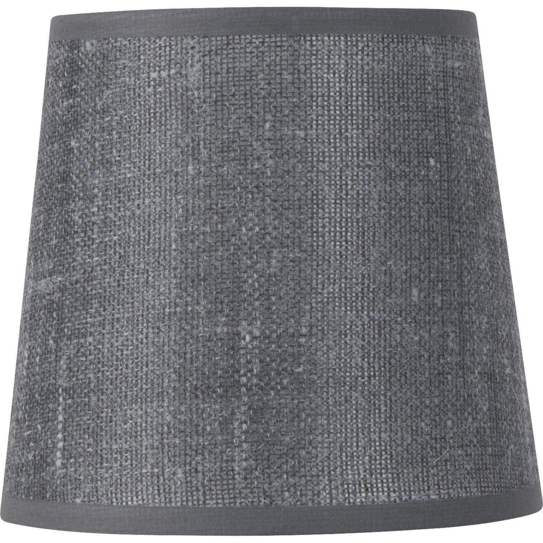 abat jour conique 22 cm lin ardoise leroy merlin. Black Bedroom Furniture Sets. Home Design Ideas