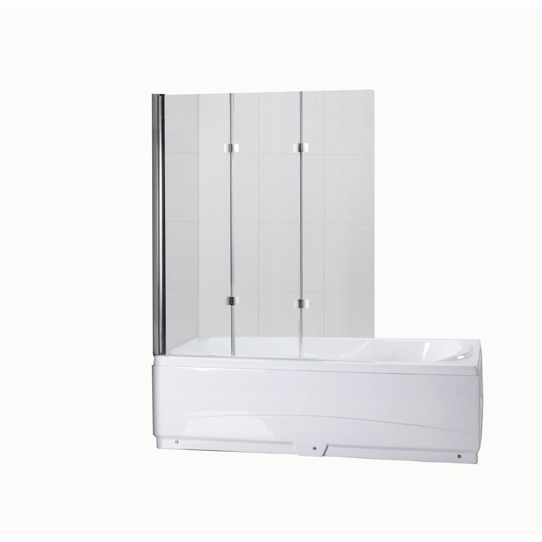 pare baignoire 3 volets verre de s curit 5 mm transparent. Black Bedroom Furniture Sets. Home Design Ideas