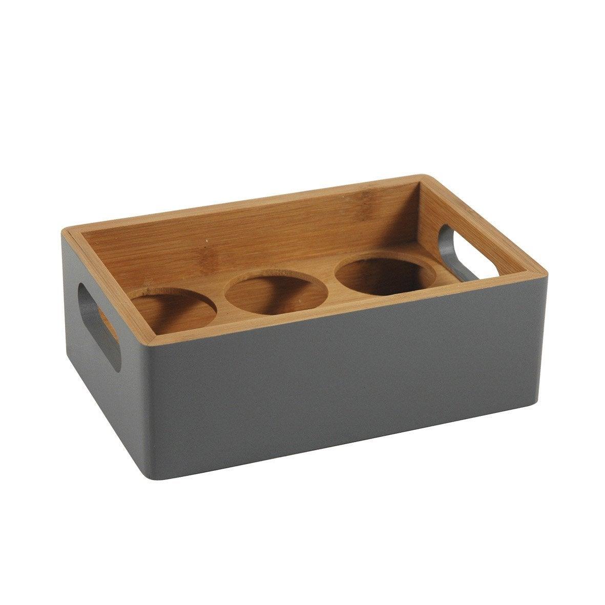porte pices bambou laqu gris gris n 1 leroy merlin. Black Bedroom Furniture Sets. Home Design Ideas