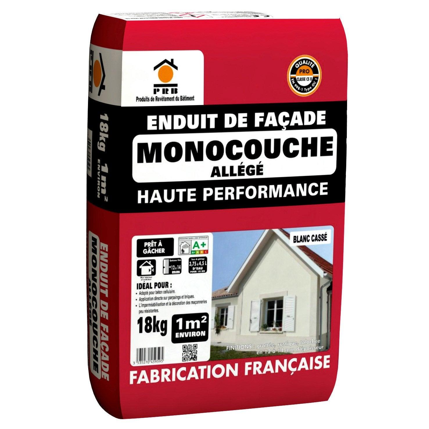 Enduit monocouche blanc cass prb kg leroy merlin for Enduit pour beton cellulaire exterieur