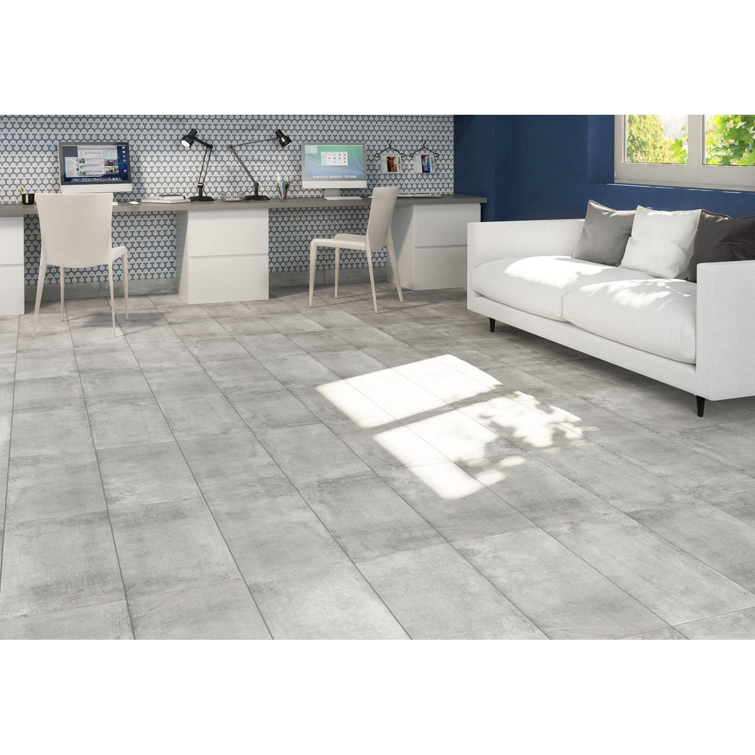 Latest carrelage sol et mur gris effet bton proton l x l for Carrelage sol salon
