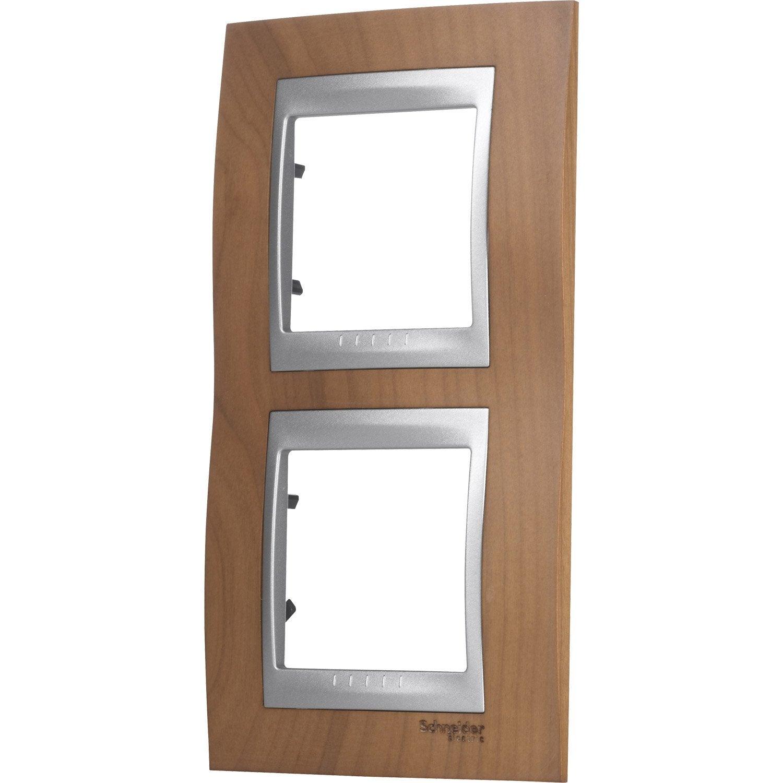 plaque unicatop schneider electric cerisier et aluminium mat leroy merlin. Black Bedroom Furniture Sets. Home Design Ideas